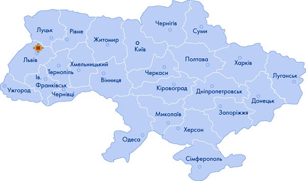 Кам'янка-Бузька на карті України